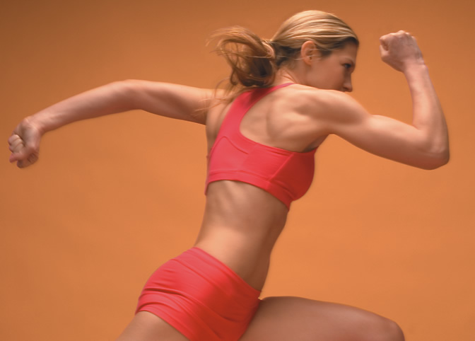 Woman running fast
